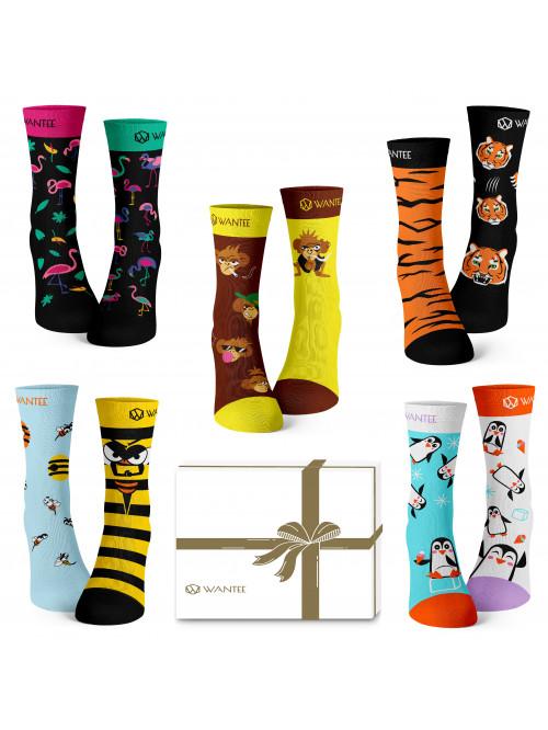 Wantee-Socken Wilde Tiere 5-Pack Geschenkbox