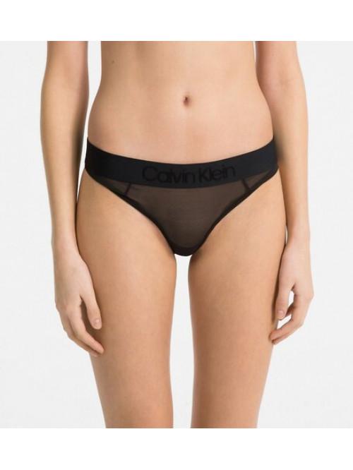 Damen Höschen Calvin Klein Tonal Logo Mesh Bikini Schwarz