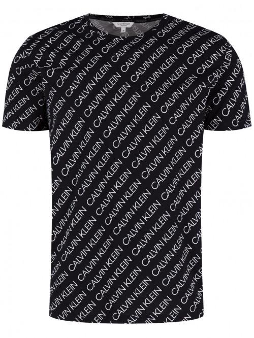 Herren T-Shirt Calvin Klein Logo Print Schwarz