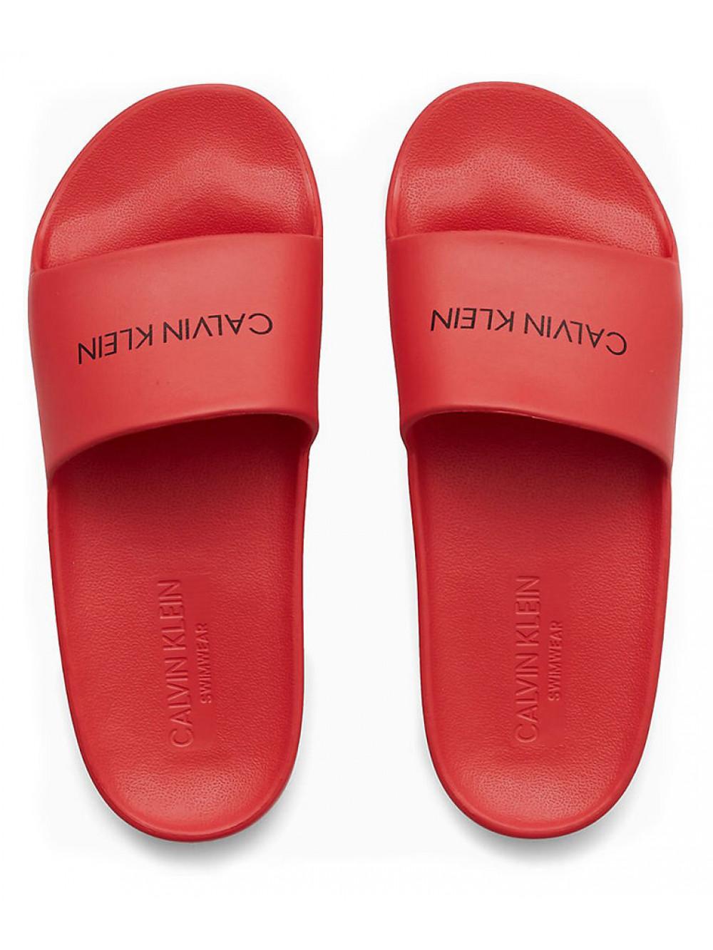 Damen Badeschuhe Calvin Klein One Mould Slide Rot