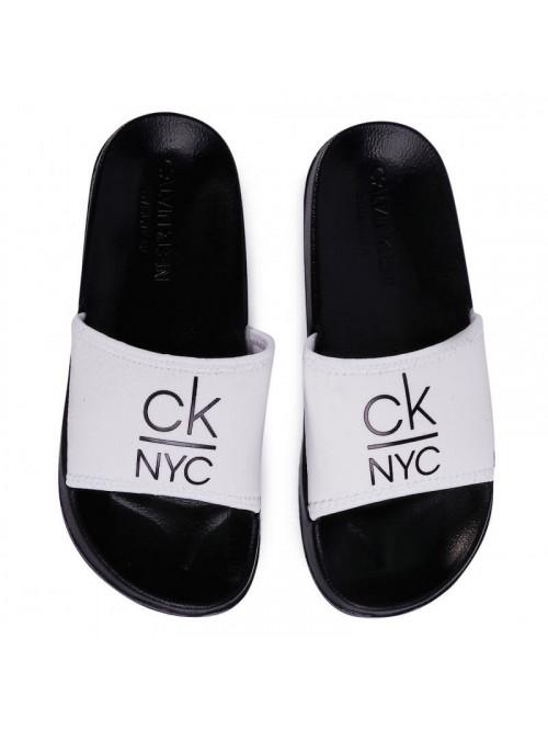 Damen Badeschuhe Calvin Klein NYC Slide Weiß-Schwarz