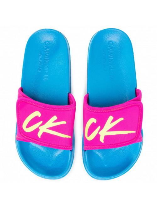 Damen Badeschuhe Calvin Klein Velcro Slide Rosa-Türkis