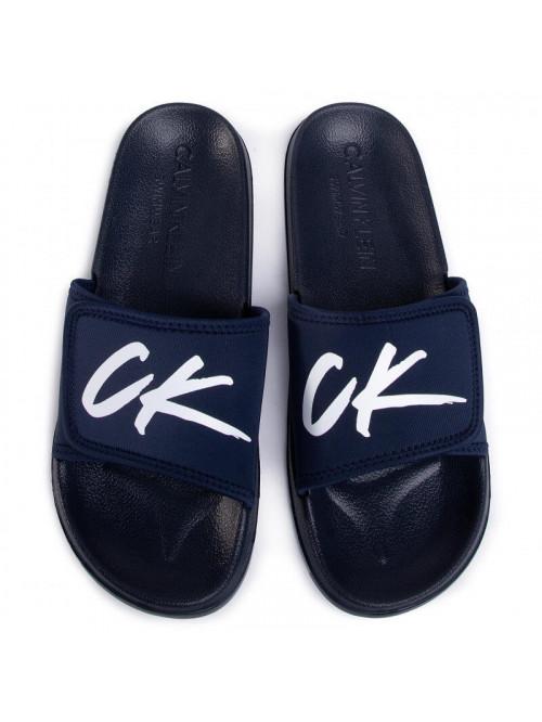 Badeschlappen für Herren Calvin Klein Velcro Slide Blau