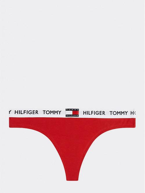 Damen Tangahöschen Tommy Hilfiger Organic Cotton Logo Rot