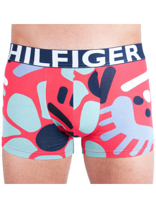 Herren Boxershorts Tommy Hilfiger Trunk Abstract Print Rot, Gemustert