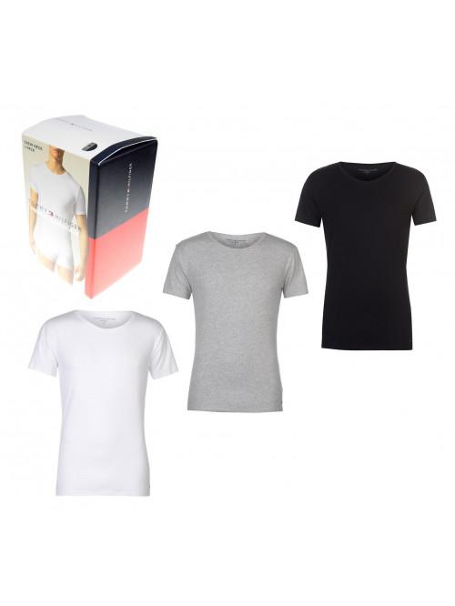 Herren T-Shirts Tommy Hilfiger C-Neck Tee SS Schwarz, Weiß und Grau 3-pack