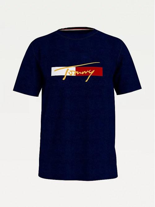 Herren T-Shirt  Tommy Hilfiger Organic Cotton Logo Blau