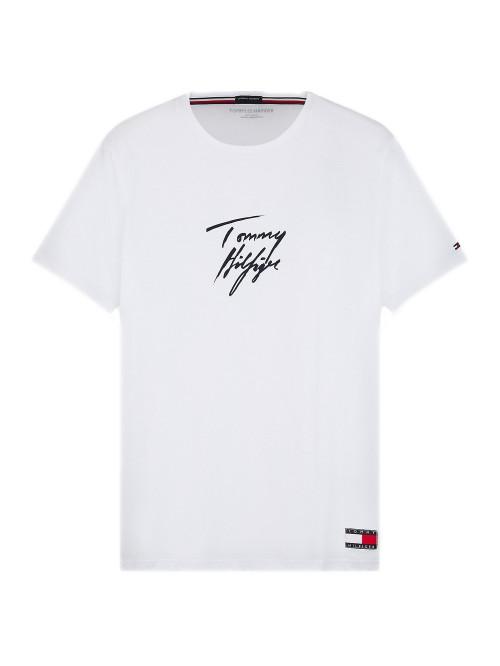 Herren T-Shirt Tommy Hilfiger Signature Logo Weiß