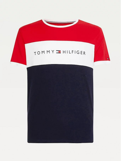 Herren T-Shirt Tommy Hilfiger CN SS Tee Logo Flag Rot