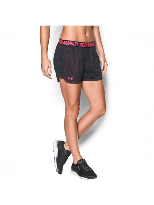 Damen Shorts Under Armour Mesh Play schwarz-rosa