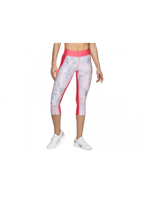 Damen kompression 3/4 Leggings Under Armour Printed rosarot