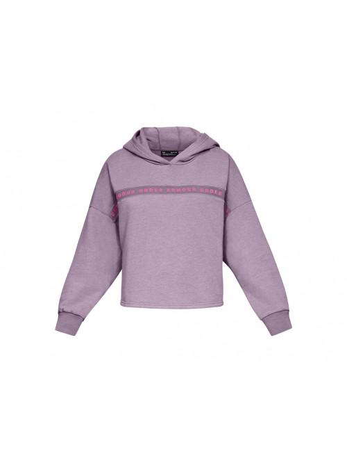 Damen Sweatshirt Under Armour Taped Fleece Hoodie Lila