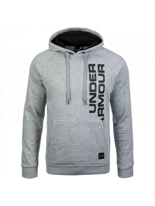 Herren Sweatshirt Under Armour RIVAL FLEECE SCRIPT HOODY Grau