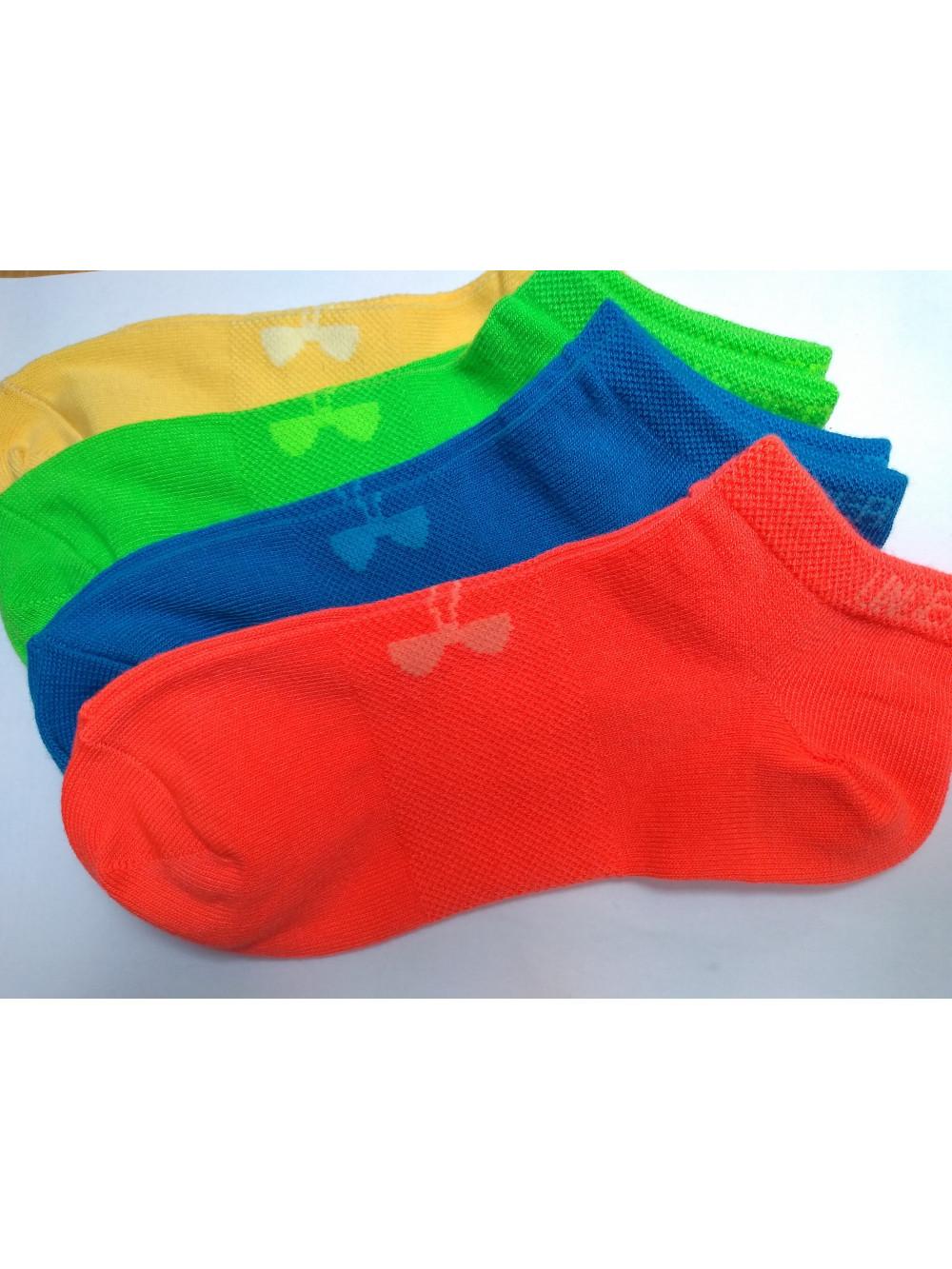 Damen Knöchelsocken Under Armour niedrige 4pack- grün, orange, blau, gelb