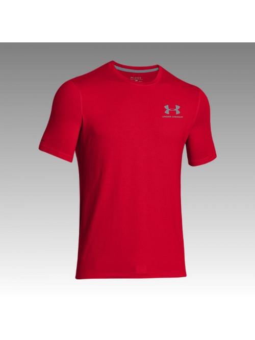 Herren lockeres T-Shirt Under Armour Left Chest Logo Tee rot