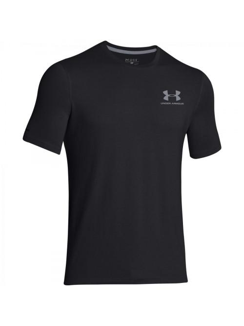 Herren lockeres T-Shirt Under Armour Left Chest Logo Tee dunkelgrau bis schwarz