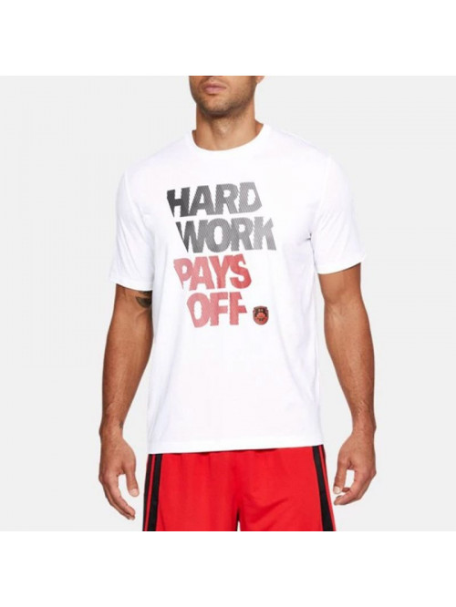 Herren T-Shirt Under Armour BBall Hard Work weiß