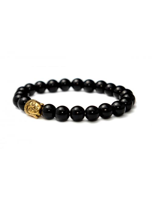 Armband Buddha schwarzer Achat - Glanz