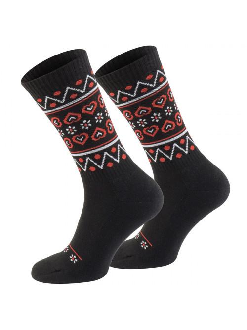 Socken Walker's Folk Schwarz-Rot