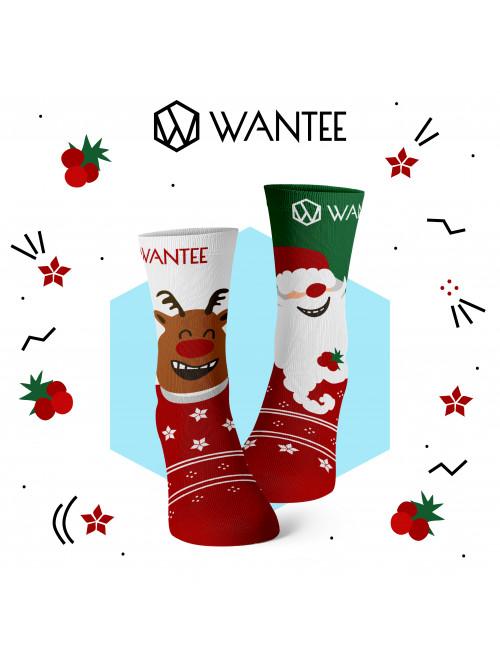 Kinder Socken Fröhlicher Weihnachtsmann und Rentier Wantee