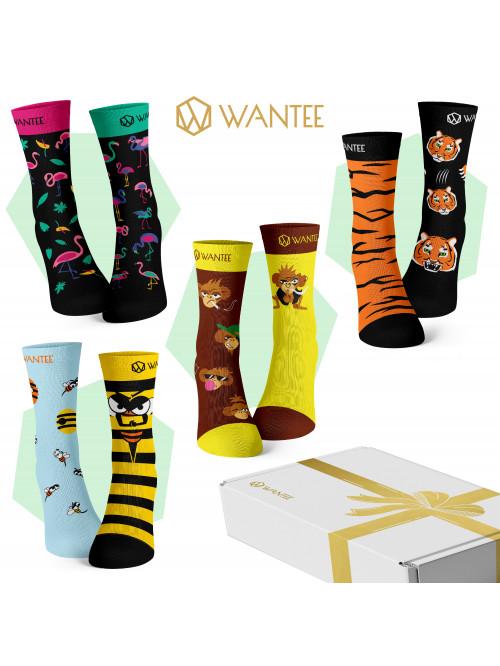 Wantee-Socken Wilde Tiere 4-Pack Geschenkbox