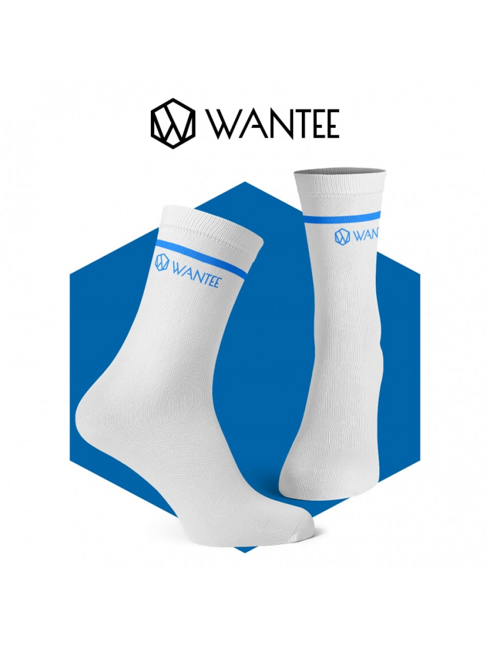 Socken Basic White and Blue Wantee