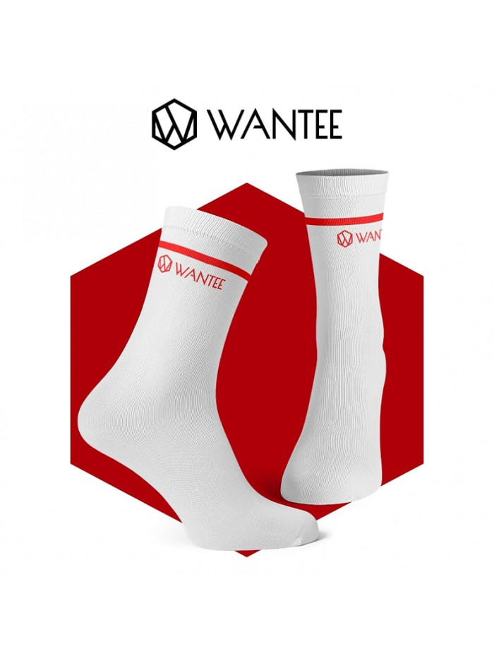 Socken Basic White and Red Wantee