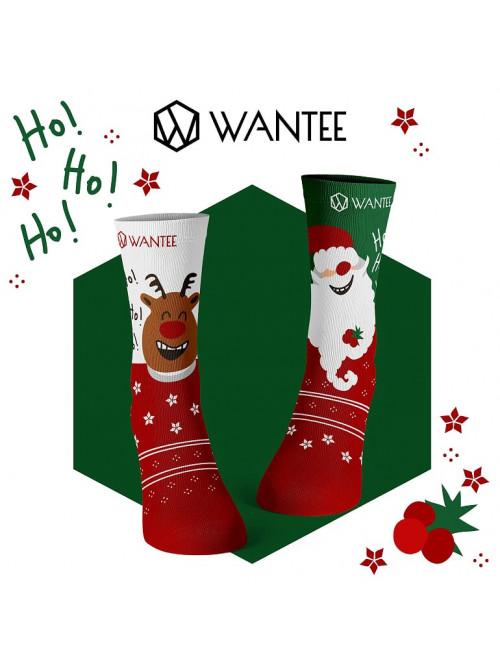 Socken Fröhlicher Weihnachtsmann und Rentier Wante...